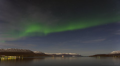 Nightly surprises are the best (lunaryuna) Tags: iceland northiceland akureyri fjord panoramicviews nocturnalphotography nightphotography auroraborealis northernlights nordlichter sky stars starrynight reflections citylights lunaryuna