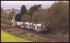 For the record - 6K41- 23rd (peterdouglas1) Tags: valleyflasks 6k41 directrailservices class68 68016 fearless 68034 victorious belmont menaibridge britanniabridge northwalescoastrailway