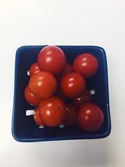 151/365 (moke076) Tags: 2017 365 project 365project project365 oneaday photoaday vsco vscocam iphone cell cellphone mobile tiny tomatoes fruit vegetable local homegrown grown red little blue colander white countertop food eat