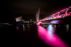 View from the Quay (brunkfordbraun) Tags: night lights river irwell bridge mediacityuk salford manchester england unitedkingdom pink magenta