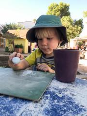 20170925_Shannon_phone_0036.jpg (Ryan and Shannon Gutenkunst) Tags: hat stmarkspreschoolandkindergarten chalkboard chalk batmanshirtwithcape codygutenkunst
