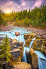 Sunrise at Sunwapta Falls, Jasper National Park, Canada (Purvesh Trivedi -www.purveshtrivediphotography.com) Tags: sunrise sunwapta waterfall trees sun clouds sky rock jasper travel explore hike calgary canada alberta toursim nature rockies mountain bluewater icefield hinton
