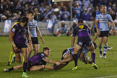 Sharks v Storm Rd 14 2017-129.jpg (alzak) Tags: 2017 australia cronullasharks league melbournestorm nrl rugby sydney action sports tactics wrestling tackle