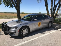 Iowa State Patrol (Emergency_Spotter) Tags: dodgelaw dodge iowa state patrol 2015 gray setina spotlight spot cop cops police whelen liberty v8 pursuit trooper statetrooper station post yellow awd rwd law justice 911 dial charger led leo highway camera nikon hubcaps