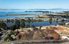 Looking west from 4th St., Berkeley (Michael Layefsky) Tags: berkeley compost aquaticpark aerial photograph sanfranciscobay bicycleandpedestrianbridge interstate80 mclaughlineastshorestatepark california bicyclepedestrianbridge