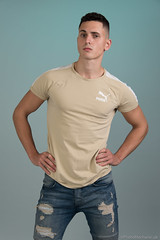 Dominic (PhotoMechanic.uk) Tags: male man guy dude youth model pose photoshoot boy studio jeans tshirt fashion trendy casual green blue stand standing