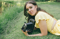 the yellow dress (girlwithcamera22) Tags: theyellowdress photograph oldcamera girl summer endofsummer summerevenings california norcal serenity beautiful
