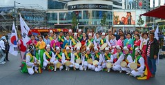 South Korean Folk Dance Ensemble .... Dundas Square .... Toronto, Ontario (Greg's Southern Ontario (catching Up Slowly)) Tags: nikon nikond3200 torontoist dundassquare southkorea folkdancers southkoreanfolkdancers people groupofpeople groupphotograph