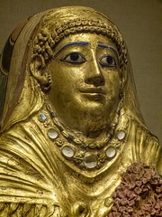 Closeup of Roman Period Gilded Gesso Mummy Cartonnage of a Woman Hawara (possibly) Egypt 1st century CE (mharrsch) Tags: mummy cartonnage woman female gold gilded hawara egypt romanperiod 1stcenturyce ancient death burial funerary brooklynmuseum newyork mharrsch
