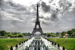 Moody Eiffel Tower (Rick Ellerman) Tags: rickellermanphotography france french paris parisian eiffel eiffeltower tower letoureiffel citroen water fountain icon iconic worldfamous symbol