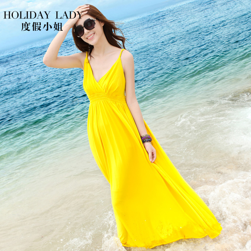 Summer beach yellow skirt in summer 2017 new Bohemia desert dress dress halter dress skirt