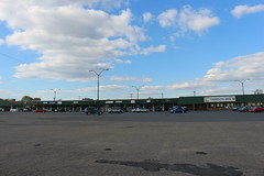 Skyway Shopping Center (trumpeterny) Tags: sky road building shopping centre center shop grocery store stores veterinary pet aubuchon hardware clouds stripmall mall plattsburgh ny parking lot car cars yando yandos big m bigm