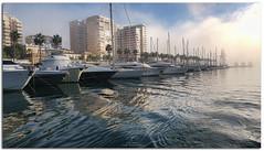 Taró (jaroro70) Tags: puerto málaga taró barcos nubes mar niebla bruma yates edificios seascape