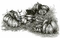 Chillin' In The Pumpkin Patch (molossus, who says Life Imitates Doodles) Tags: inktober technicaldrawingpen penandink funeasylandscape shapelypeople girlonapumpkin kohinoor zebrapenus zensations