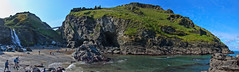 Merlins Cave (stumpyheaton) Tags: water walk waterfall england elements rocks uk island outside ocean photoshop panorama pano autumn sky sea seascape d5100 day falls green grass hill cornwall view blue beach cove nikon september tintagel merlin cave castle