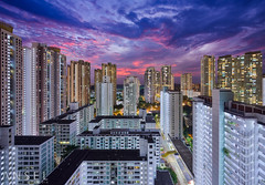 Fortune in Misfortune (draken413o) Tags: singapore architecture cityscapes skyline skyscrapers urban places scenes asia travel destinations toa payoh residential estate hdb sunset epic pink hues sky evening rain tilt shift canon 5dmk4 17mm tse panorama wow cluttered housing blocks