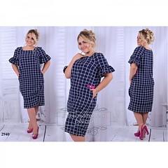 Платье большого размера ниже колена с карманами темно-синяя клетка (arrkareeta) Tags: одежда платье dress woman 2016 2012