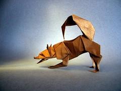 Playing Husky (Husky Joueur) - Christophe Boudias (Rui.Roda) Tags: origami papiroflexia papierfalten chien dog perro cão cachorro playing husky joueur christophe boudias