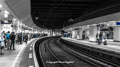 Birmingham New Street (atomikkingdom) Tags: people birmingham train blackandwhite station railroad