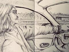 On the way to Leipzig (Jutta Richter) Tags: car drawing driver sketch urbansketchers zeichnung auto high autobahn moleskine biro ballpen kugelschreiber