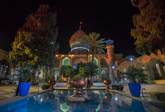 ali ibn hamzeh holly shrine, shiraz, iran (Tina Grdic Kukulic) Tags: iran aliibnhamzehhollyshrine shrine middle east shiraz islam religion dome nightscape religious minarets water sonyalpha7ii minolta1735f28 travel persia ايران perisa muslim islamic trees reflection colors mosque
