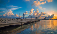 Venetian Causeway (Tazmanic) Tags: biscaynebay miami miamibeach florida venetiancauseway morning clouds seascape bridge ponte