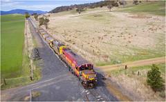 2011 + 2006 at Danby (Trains In Tasmania) Tags: australia tasmania danby ballasttrain train tasrail dq dqclass dq2011 emd gm drone aerial phantom3standard djiphantom3standard trainsintasmania stevebromley