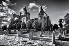 Past splendour (David Feuerhelm) Tags: blackandwhite monochrome bw noiretblanc schwarzundweiss contrast ir infrared wideangle building church ruin historic history old churchyard graves tower crowland crowlandabbey lincolnshire england nikon d90 sigma1020mm silverefex