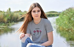 Riverside beauty. (pstone646) Tags: youngwoman younglady beauty people pretty portrait river outdoors longhair browneyes