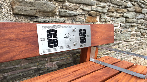 Close up of Solar Audio Bench Electronics at Neath Abbey