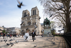 Just Married... (Charlie_Joe) Tags: paris france notredame travel street wedding marriage couple church pigeons birds people