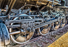 Big wheels keep on rolling…. (cindyslater) Tags: track hdr steamengine flagstaff cindyslater arizona transportation train trains city locomotive unitedstates equipment 280 route66 az usa