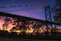 Sun Sets Under Bridge. Windsor, ON. (Paul Thibodeau) Tags: photooftheday windsor nikond500 ambassadorbridge sunset colours colourful