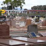 Salisbury. Chidda Railway Station and suburban train beside Spains Road cemetery. thumbnail