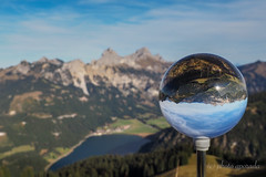 Austria - Lake Haldensee in a Crystal Ball (gporada) Tags: austria crystalball lakehaldensee allgäualps tyrol alps tannheimertal hiking travelling autumn communityofgrän ngc welltaken world100f olympusomdem10markii mft microfourthirds österreich europe mountains berge bergwelt landschaft glaskugel reisen wandern see bergsee kristallkugel kugel herbst herbstsonne sunny sonnig olympus lake alpen allgäueralpen fernsicht wald berg landscape grän dof bergpanorama paysage autriche automne bouledecristal alpes