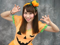 Girly Ghoul or Girly Goblin? (emotiroi auranaut) Tags: girl woman lady cute adorable pretty playing play playful halloween face hair braces tongue hands claws pumpkin costume fun funny humor attractive silly japan japanese asia asian giggle giggling smile smiling