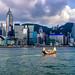 Hong Kong City skyline before sunset. View from across Victoria Harbor Hongkong.
