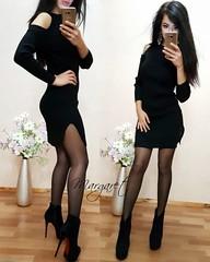 Модное женское вязанное платье с вырезами на плечах черное (arrkareeta) Tags: