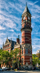 Jefferson Market Library, The Village (LJS74) Tags: stitchedpanorama jeffersonmarketlibrary greenwichvillage thevillage architecture color manhattan nyc clouds clocktower newyorkcity day