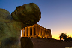 Dreamer (TheOnlyScoss) Tags: sunset sky greek icarus temple agrigento sicily italy statue perpsective mythology history antiquity ruins