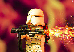 Flame Trooper (Jezbags) Tags: lego legos toys toy legostarwars starwars stormtrooper troopers trooper stormtroopers macro macrophotography macrodreams macrolego canon60d canon 60d 100mm closeup upclose fire flame thrower red yellow