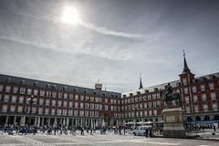 Plaza Mayor im Gegenlicht