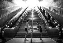 Stretch To The Top (JustForSneaks Ent.) Tags: stretching exercise fitness stairs metroredline mta losangeles civiccenter blackandwhite monochrome greyscale streetphotography