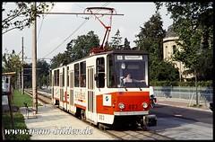 003-1991-08-14-1-Puschkinallee (steffenhege) Tags: potsdam tram strasenbahn streetcar ckd kt4d 003