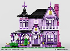 1,500 Supporters Update - Purple Victorian House (buggyirk) Tags: building whimsical district creator house queen victorian modular buggyirk historic architecture historical home anne dream lego afol moc dark purple lavender lilac magenta city fireplace exterior garden turret tower gable finial stained glass window porch brick built stairs pillar flower tree bush ideas legodreamhome fantasy whimsy miniature cottage