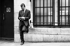 Day 296. Cigarette and coffee. (Rob Emes) Tags: urban city london street standing man coffee break smoker smoking bw black mono g7xii canon 3652017 365 oct2017