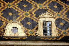 Ornate Zsolnay Rooftop of Hotel Dieu de Beaune (Greatest Paka Photography) Tags: beaune france hoteldieu hospice gothic architecture burgundy rooftop roof window multicolored geometrical reflection pattern panes color dormer tiles glazedtile chancellor nicolasrolin poor hospital