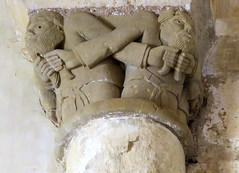 Pulling Beards (YIP2) Tags: chapiteaux capital church pillar column medieval stone art facade dordogne france aquitaine perigord saintraphaël excideuil beard