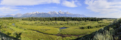 Blacktail Ponds Overlook_27A0257-0262-Pano (Alfred J. Lockwood Photography) Tags: alfredjlockwood nature panorama landscape blacktailponds clouds grandtetonnationalpark grandteton morning summer field grasses wyoming middleteton teewinot mountowen creek