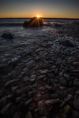 Lake Winnipeg Rocks (Mr. Gee) Tags: camera 2017 gullharbour hecla heclaisland lakewinnipeg lighthouse shore sunrise water waves